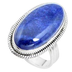 925 silver 16.17cts natural blue sodalite solitaire ring jewelry size 8.5 p38787