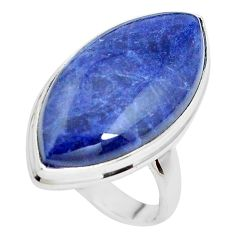 925 silver 15.85cts natural blue sodalite solitaire ring jewelry size 8 p38795