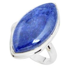 925 silver 14.40cts natural blue sodalite solitaire ring jewelry size 9 p38840