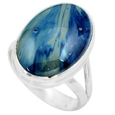 925 silver 7.23cts natural blue swedish slag oval solitaire ring size 8 p61424