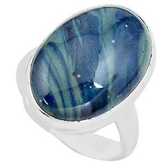 925 silver 13.87cts natural blue swedish slag oval solitaire ring size 7 p80724