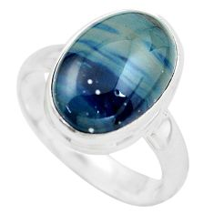 925 silver 6.02cts natural blue swedish slag solitaire ring size 8 p61430