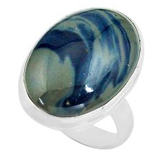 925 silver 13.87cts natural blue swedish slag solitaire ring size 6.5 p80728