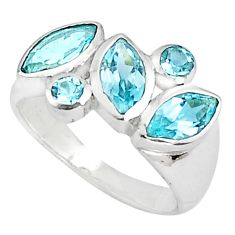 925 silver 5.79cts natural blue topaz marquise ring jewelry size 5.5 p81527