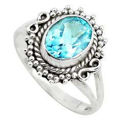 925 silver 3.31cts natural blue topaz oval shape solitaire ring size 8 p72384
