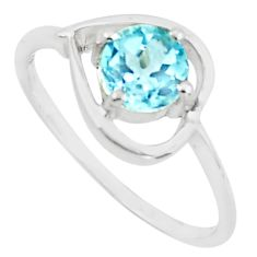 925 silver 1.49cts natural blue topaz round shape solitaire ring size 7.5 p73118