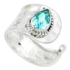 925 silver 1.94cts natural blue topaz solitaire adjustable ring size 6.5 p49716