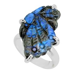 925 silver 11.07cts natural boulder opal carving solitaire ring size 5 p69318