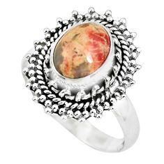 925 silver 3.04cts natural brecciated jasper oval solitaire ring size 7.5 p63258