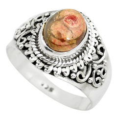 925 silver 3.14cts natural brecciated jasper oval solitaire ring size 8 p71864