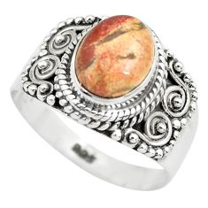 925 silver 3.28cts natural brecciated jasper solitaire ring size 7.5 p71867