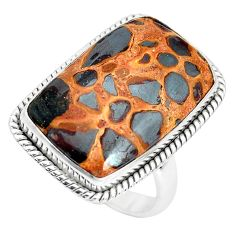 925 silver 19.00cts natural brown bauxite solitaire ring jewelry size 9.5 p32924