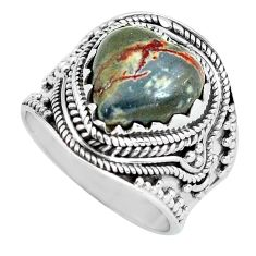925 silver 6.89cts natural brown coffee bean jasper solitaire ring size 8 d32094