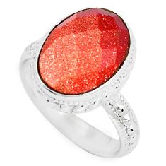 Clearance Sale- 925 silver 6.02cts natural brown goldstone solitaire ring jewelry size 7 d31435