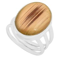 925 silver 13.24cts natural brown imperial jasper solitaire ring size 7 p80684