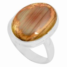 925 silver 13.70cts natural brown imperial jasper solitaire ring size 7.5 p80698