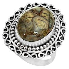 925 silver 7.66cts natural brown mushroom rhyolite solitaire ring size 7 p79009