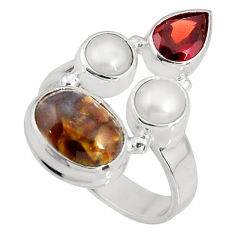 925 silver 7.82cts natural brown pietersite (african) pearl ring size 6.5 p90810