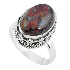 925 silver 6.18cts natural brown pietersite oval solitaire ring size 7 p56580