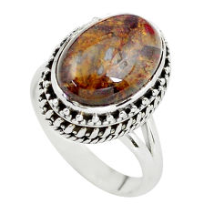 925 silver 6.76cts natural brown pietersite oval solitaire ring size 7.5 p56749