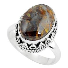 925 silver 6.54cts natural brown pietersite solitaire ring size 7.5 p56578