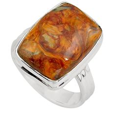 925 silver 13.77cts natural brown pietersite solitaire ring size 7.5 p80720