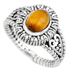 925 silver 2.21cts natural brown tiger's eye oval solitaire ring size 7 p55769