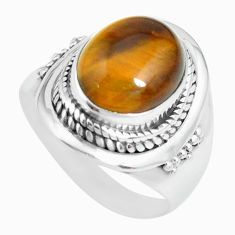 925 silver 5.18cts natural brown tiger's eye oval solitaire ring size 7.5 p70264