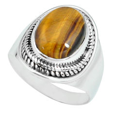 925 silver 5.30cts natural brown tiger's eye oval solitaire ring size 8 p70268