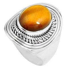 925 silver 5.18cts natural brown tiger's eye oval solitaire ring size 7.5 p70278