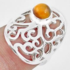 925 silver 1.09cts natural brown tiger's eye round solitaire ring size 6 p61769