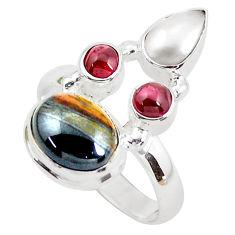 925 silver 7.66cts natural brown tiger's hawks eye garnet ring size 8.5 p52657