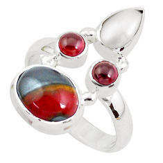 925 silver 7.66cts natural brown tiger's hawks eye red garnet ring size 8 p52652