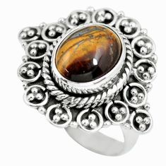 925 silver 4.28cts natural brown tiger's hawks eye solitaire ring size 7 p63291
