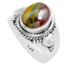925 silver 4.30cts natural brown tiger's hawks eye solitaire ring size 7 p71744