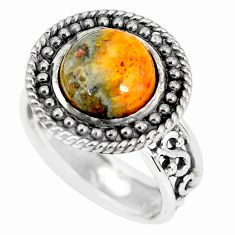925 silver natural bumble bee australian jasper solitaire ring size 8 p56008