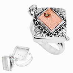 925 silver natural campo del cielo (meteorite) poison box ring size 7.5 p44859