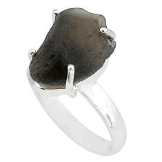 925 silver 9.47cts natural chintamani saffordite solitaire ring size 8 p68745