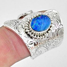 925 silver 2.47cts natural doublet opal australian adjustable ring size 6 p57304