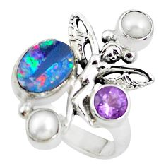 925 silver natural doublet opal australian angel wings fairy ring size 8 p54084