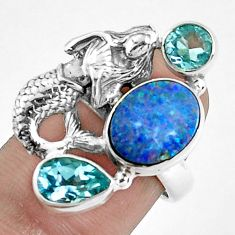 925 silver natural doublet opal australian fairy mermaid ring size 6.5 p42725