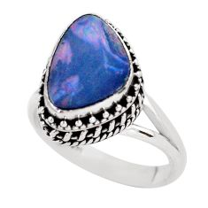 925 silver natural doublet opal australian fancy solitaire ring size 8.5 p56444