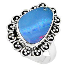 925 silver 5.79cts natural doublet opal australian solitaire ring size 7 p60250