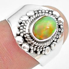 925 silver 2.13cts natural ethiopian opal oval solitaire ring size 7.5 p71552
