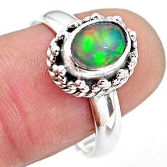 925 silver 2.01cts natural ethiopian opal oval solitaire ring size 8.5 p84784
