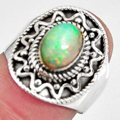 925 silver 2.12cts natural ethiopian opal oval solitaire ring size 6.5 p90604