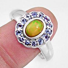 925 silver 4.02cts natural ethiopian opal tanzanite ring size 10 c5559