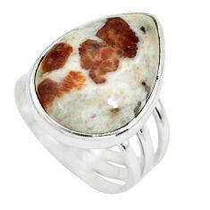 925 silver natural garnet in limestone spessartine solitaire ring size 9 p61498