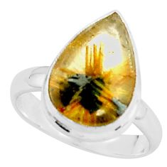 925 silver 5.82cts natural golden half star rutile pear ring size 7 p76036
