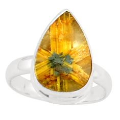 925 silver 6.36cts natural golden half star rutile solitaire ring size 7 p76004